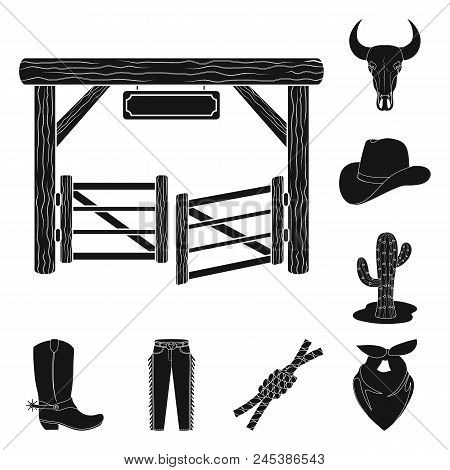 Rodeo, Competition Black Icons In Set Collection For Design. Cowboy And Equipment Vector Symbol Stoc