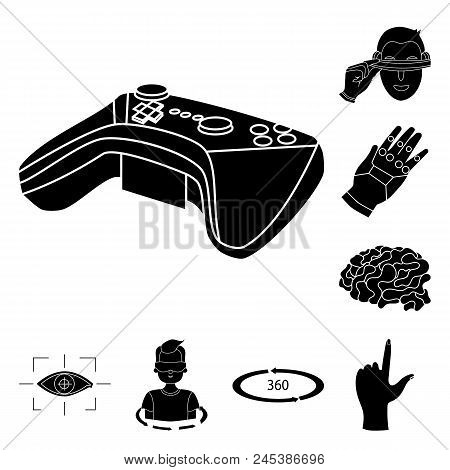 A Virtual Reality Black Icons In Set Collection For Design. Modern Technology And Equipment Vector S