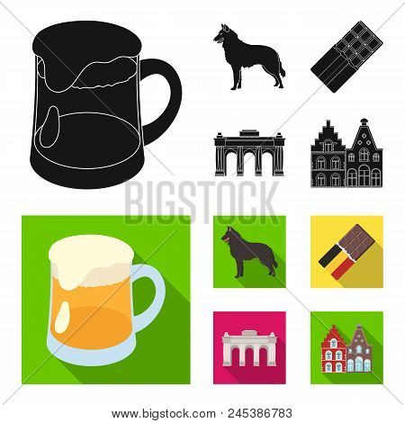 Chocolate, Cathedral And Other Symbols Of The Country.belgium Set Collection Icons In Black, Flat St