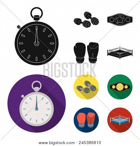 Boxing, Sport, Stopwatch, Watch .boxing Set Collection Icons In Black, Flat Style Vector Symbol Stoc