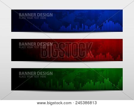 Banners With Economic Graph With Diagrams On The Stock Market, For Business And Financial Concepts A