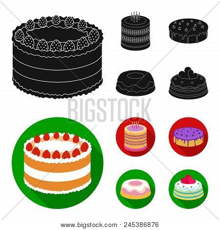 Sweetness, Dessert, Cream, Treacle .cakes Country Set Collection Icons In Black, Flat Style Vector S