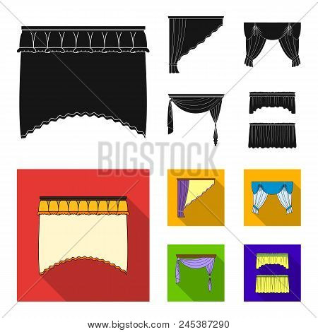 Different Types Of Window Curtains.curtains Set Collection Icons In Black, Flat Style Vector Symbol
