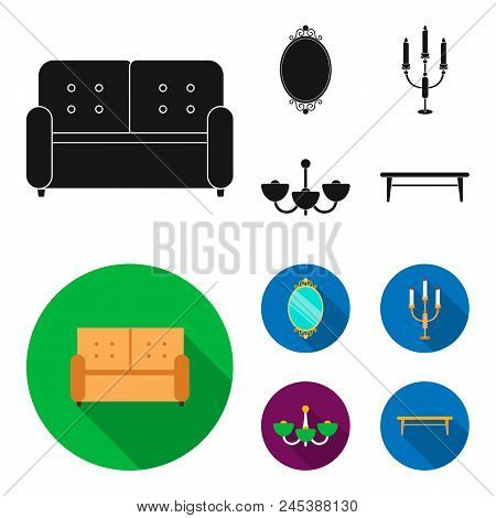 Sofa, Mirror, Candlestick, Chandelier.furniturefurniture Set Collection Icons In Black, Flat Style V