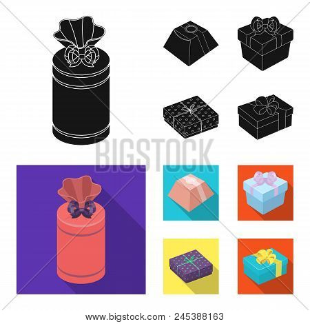 Gift Box With Bow, Gift Bag.gifts And Certificates Set Collection Icons In Black, Flat Style Vector