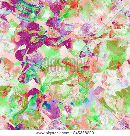 Watercolor ethnic seamless pattern. Ikat colorful paint background. Oriental splash watercolour design. Swimwear texture. Floral coachella seamless pattern. Distressed abstract artwork. poster