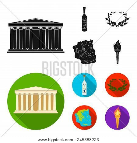 Greece, Country, Tradition, Landmark .greece Set Collection Icons In Black, Flat Style Vector Symbol