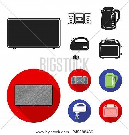 Electric Kettle, Music Center, Mixer, Toaster.household Set Collection Icons In Black, Flat Style Ve