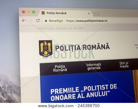 Bucharest, Romania - June 13, 2018: Website Of The The Romanian Police, The National Police Force An
