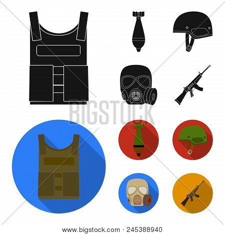 Bullet-proof Vest, Mine, Helmet, Gas Mask. Military And Army Set Collection Icons In Black, Flat Sty