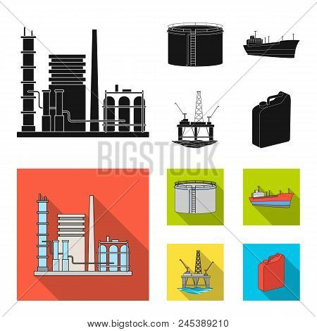 Oil Refinery, Tank, Tanker, Tower. Oil Set Collection Icons In Black, Flat Style Vector Symbol Stock