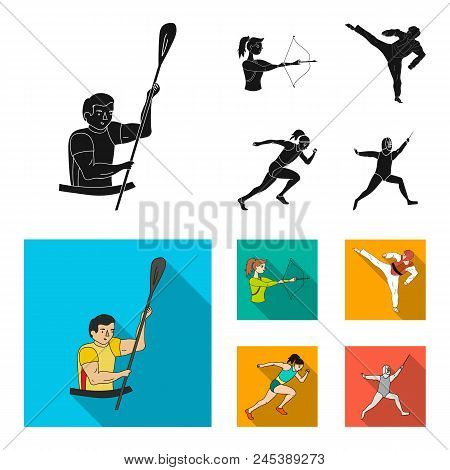 Archery, Karate, Running, Fencing. Olympic Sport Set Collection Icons In Black, Flat Style Vector Sy