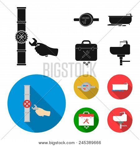 Water Meter, Bath And Other Equipment.plumbing Set Collection Icons In Black, Flat Style Vector Symb