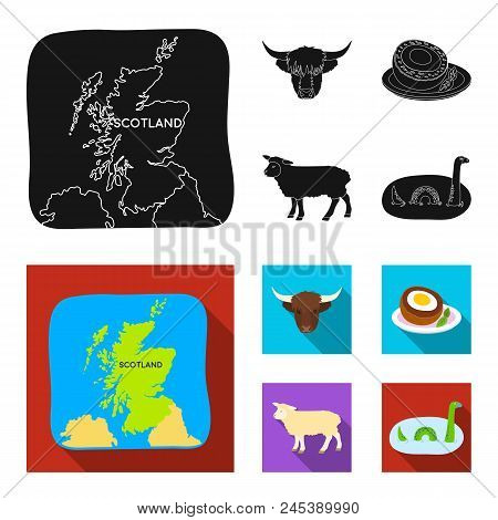 Territory On The Map, Bull's Head, Cow, Eggs. Scotland Country Set Collection Icons In Black, Flat S
