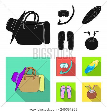 Diving, Surfing, Cocktail.summer Vacation Set Collection Icons In Black, Flat Style Vector Symbol St