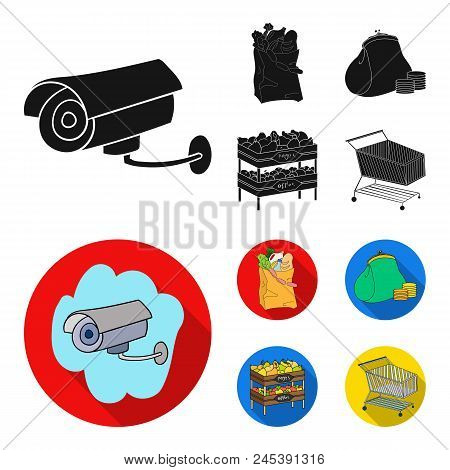 Sausages, Fruit, Cart .supermarket Set Collection Icons In Black, Flat Style Vector Symbol Stock Ill