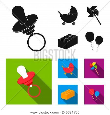 Stroller, Windmill, Lego, Balloons.toys Set Collection Icons In Black, Flat Style Vector Symbol Stoc