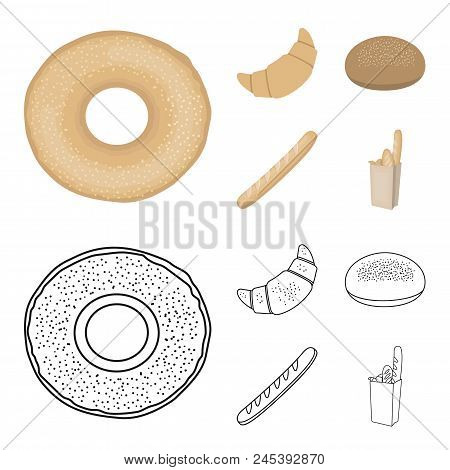 Rye Round Bread, A Croissant, A French Loaf, A Bag Of Bread.bread Set Collection Icons In Cartoon, O