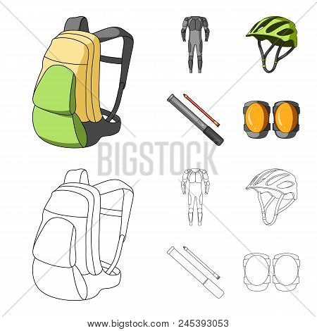 Full-body Suit For The Rider, Helmet, Pump With A Hose, Knee Protectors.cyclist Outfit Set Collectio