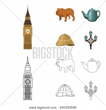 Breed Dog, Teapot, Brewer .england Country Set Collection Icons In Cartoon, Outline Style Vector Sym