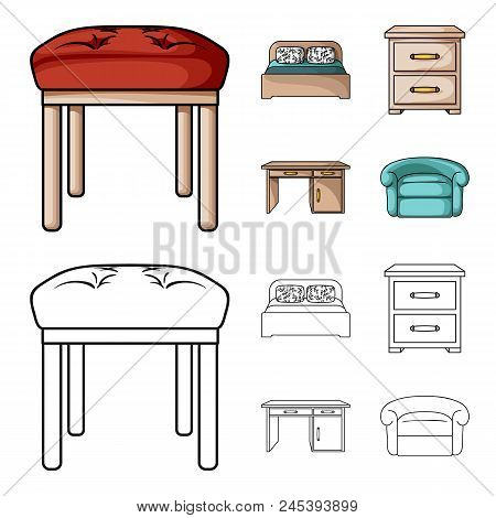 Interior, Design, Bed, Bedroom .furniture And Home Interiorset Collection Icons In Cartoon, Outline
