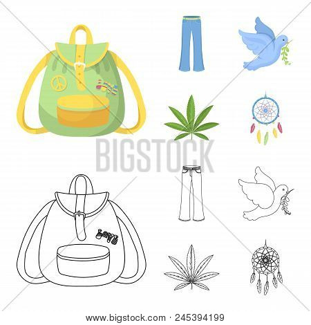 A Cannabis Leaf, A Dove, Jeans, A Backpack.hippy Set Collection Icons In Cartoon, Outline Style Vect