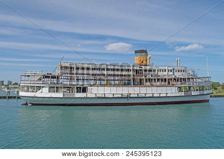 The S.s. Ste. Claire, Built In 1910, One Of Two Steamships Carrying Visitors On The Detroit River To