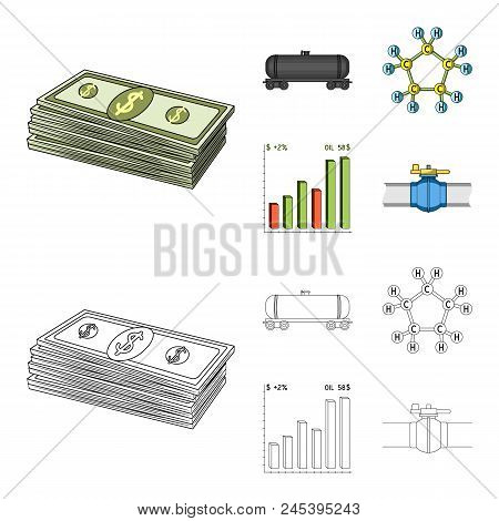 Railway Tank, Chemical Formula, Oil Price Chart, Pipeline Valve. Oil Set Collection Icons In Cartoon