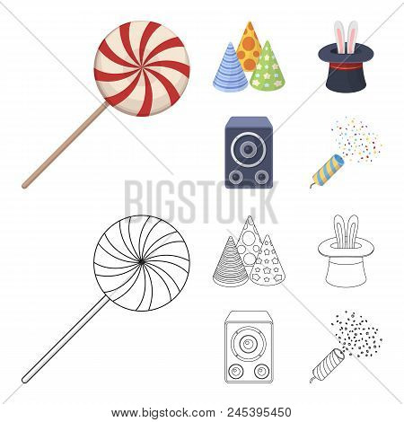 Tricks, Music And Other Accessories At The Party.party And Partits Set Collection Icons In Cartoon,