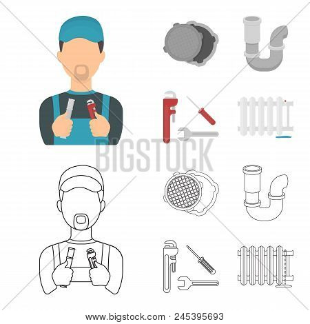 Sewage Hatch, Tool, Radiator.plumbing Set Collection Icons In Cartoon, Outline Style Vector Symbol S