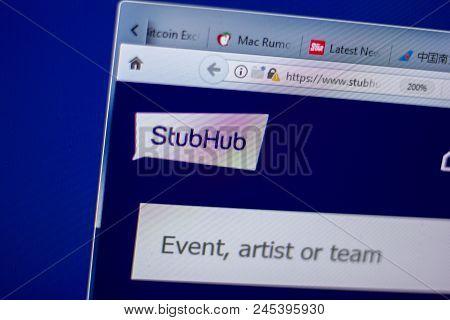 Ryazan, Russia - June 05, 2018: Homepage Of Stubhub Website On The Display Of Pc, Url - Stubhub.com