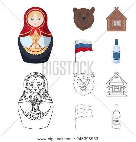 Russia, Country, Nation, Matryoshka .russia Country Set Collection Icons In Cartoon, Outline Style V