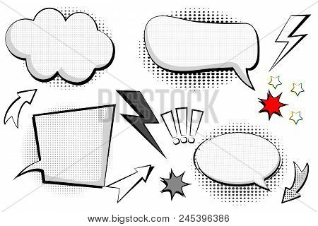 Set Retro Of Cartoon, Speech Sketch. Comic Speech Bubbles. Empty Dialog Clouds In Pop Art Style With