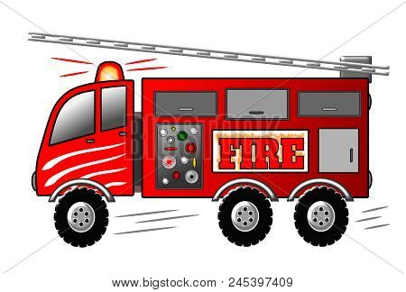 Red Cartoon Firetruck With Ladder And Siren. Fire Engine Illustration.