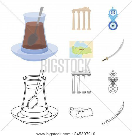 Turkish Tea, Amulet, Ruins Of Antiquity, Map Of The Territory. Turkey Set Collection Icons In Cartoo