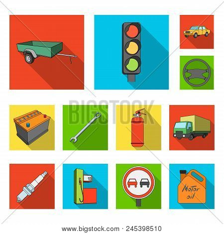 Car, Vehicle Flat Icons In Set Collection For Design. Car And Equipment Vector Symbol Stock  Illustr