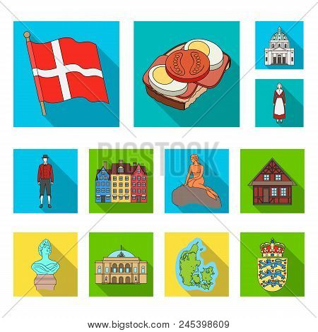 Country Denmark Flat Icons In Set Collection For Design. Travel And Attractions Denmark Vector Symbo