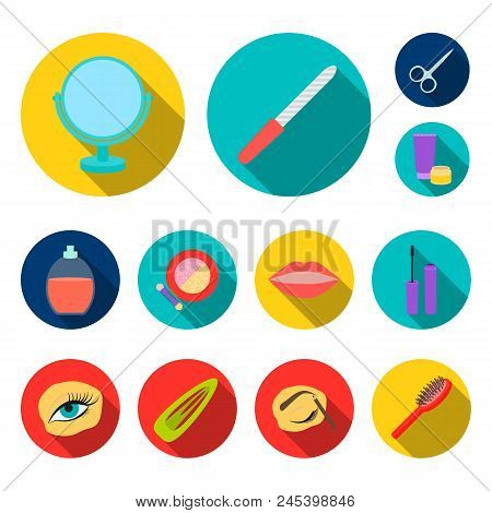 Makeup And Cosmetics Flat Icons In Set Collection For Design. Makeup And Equipment Vector Symbol Sto