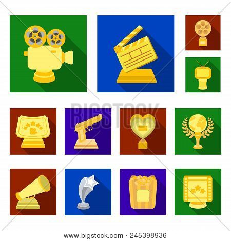 Film Awards And Prizes Flat Icons In Set Collection For Design. The World Film Academy Vector Symbol