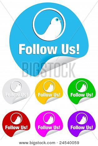 follow us,round shape stickers