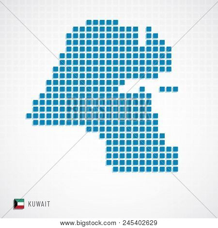 Kuwait Map And Flag Icon