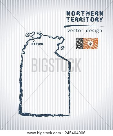 Northern Territory Vector Chalk Drawing Map Isolated On A White Background