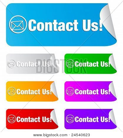 contact us, rectangular stickers