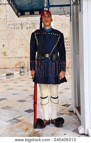Athens, Greece - March 5, 2018 Evzones Of The Presidential Guard Tomb Of Unknown Soldiers Syntagma S
