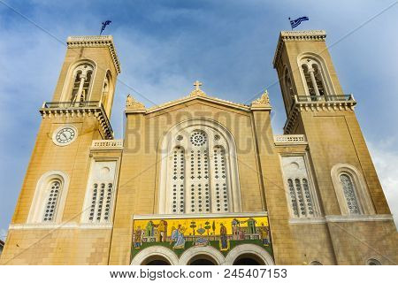 Metropolitan Cathedral Athens Greece.  Built In 1842, Main Greek Orthodox Church In Atens