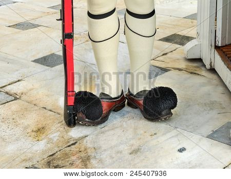 Evzones Presidential Guard Shoes Changing The Guard Tomb Of Unknown Soldiers Syntagma Square In Fron