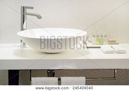 Bathroom Interior Sink With Modern Design. Interior Of Bathroom With Washbasin And Faucet