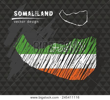 Somaliland National Vector Map With Sketch Chalk Flag. Sketch Chalk Hand Drawn Illustration