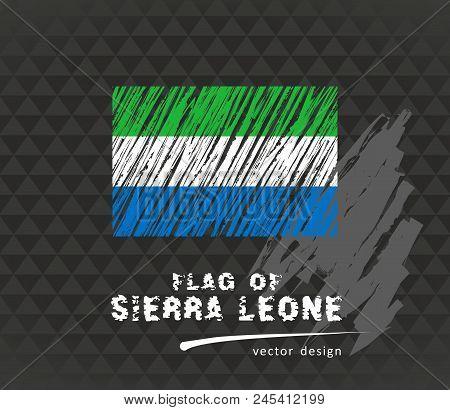 Flag Of Sierra Leone, Vector Pen Illustration On Black Background