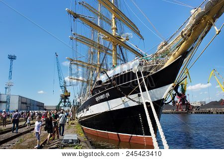Kaliningrad, Russia - June 19, 2016: The View Of The Historical Barque Kruzenshtern (prior Padua) Mo